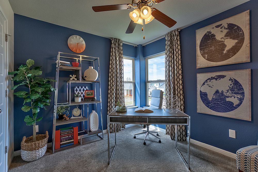 Exquisite balance between gray and blue for the home office [Design: Amoura Productions]