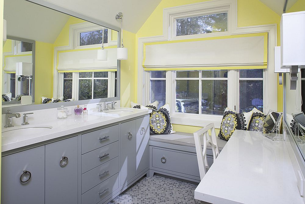 ... Exquisite Bathroom In Bluish Gray And Yellow [Design: Artistic Designs  For Living, Tineke