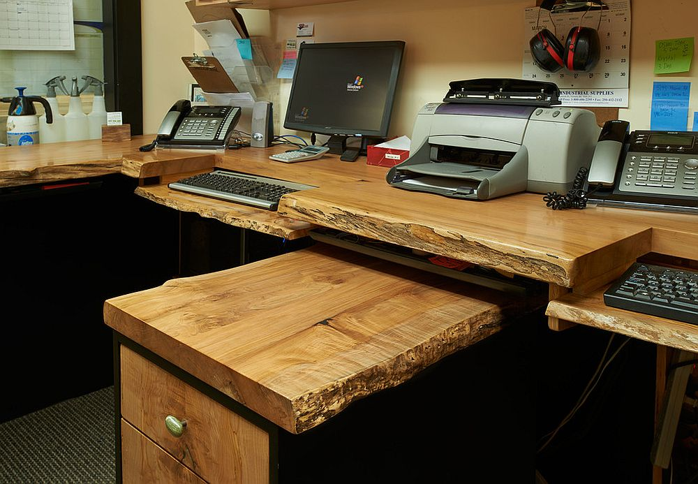 Exquisite home office workstation crafted using raw, natural wood [Design: Live Edge Design]