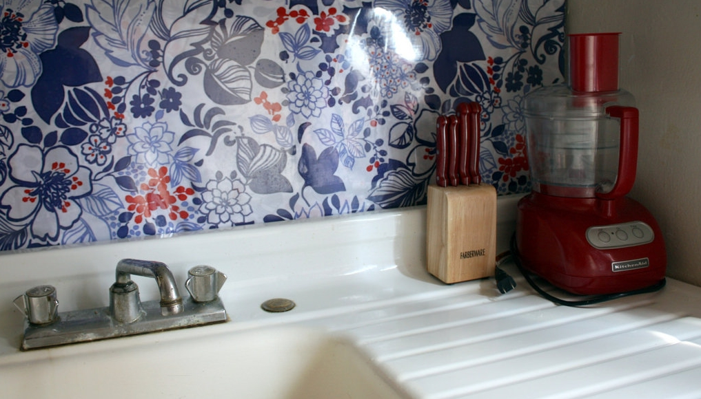 Fabric and vinyl backsplash from B.Y.O.V.