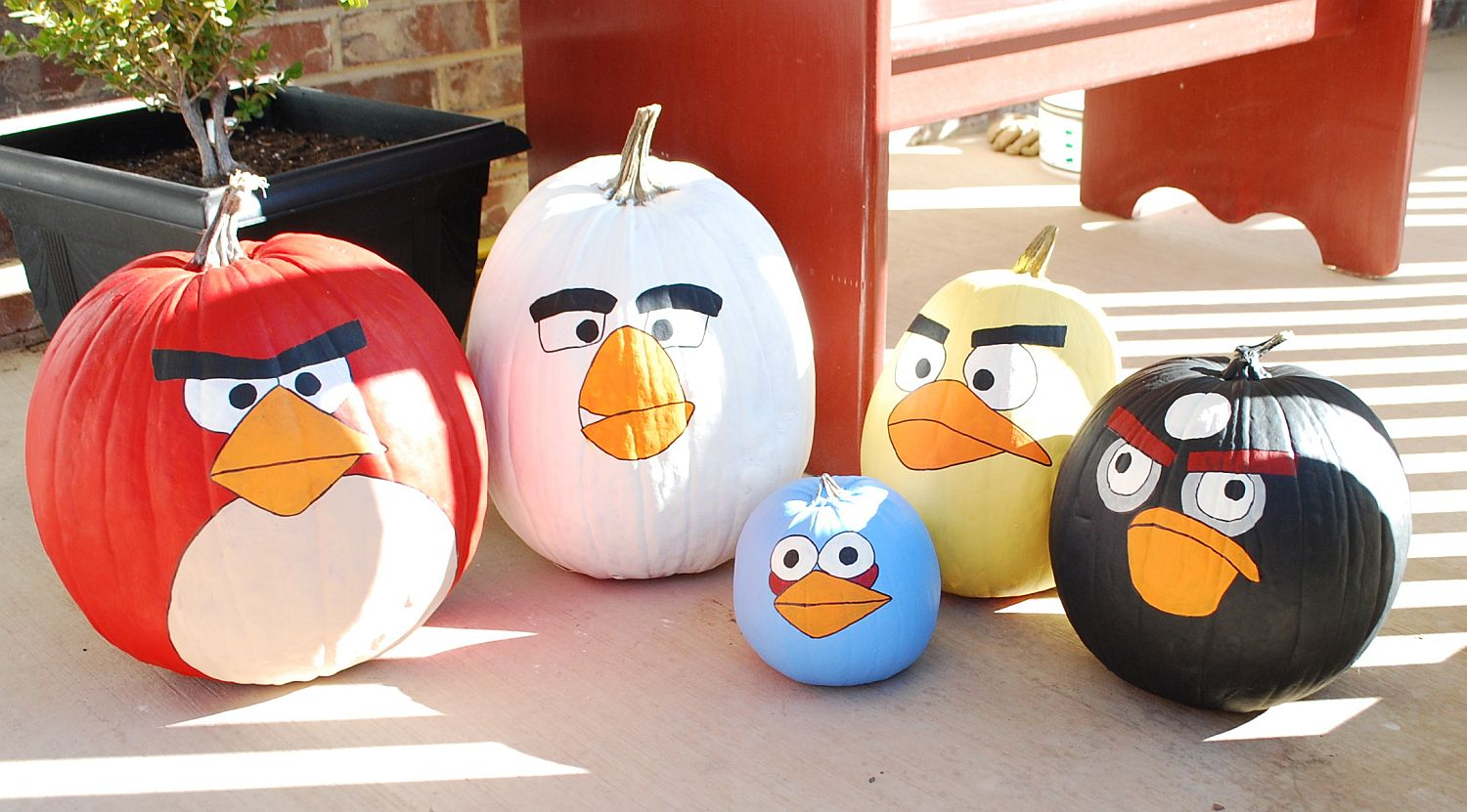 Fabulous Angry Birds pumpkins for a colorful and super fun Halloween [ From: creations by kara]