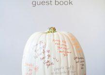 Fabulous DIY pumpkin guest book is perfect for Halloween