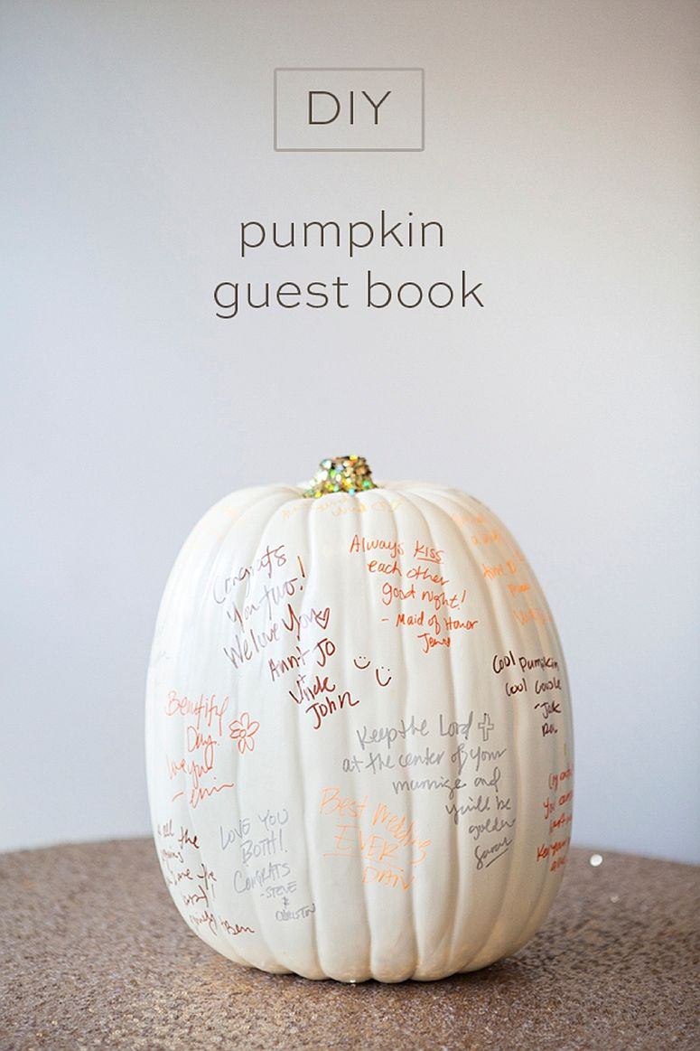 Fabulous DIY pumpkin guest book is perfect for Halloween [From: something turquoise]