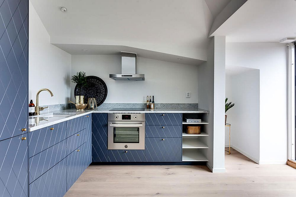 Fabulous L-shaped Scandinavian kitchen with stylish cabinets and stone countertop