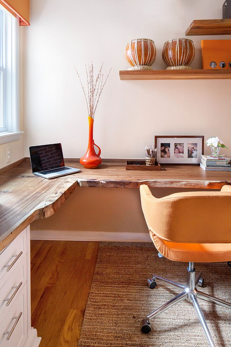 Fabulous home office with live edge desk and multiple workstations [Design: Amy Cuker]