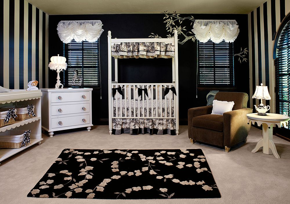 Fabulous transitional nursery in black and white with striped walls and black rug [Design: Castles Interiors]