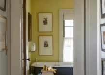 Farmhouse style bathroom in yellow and gray