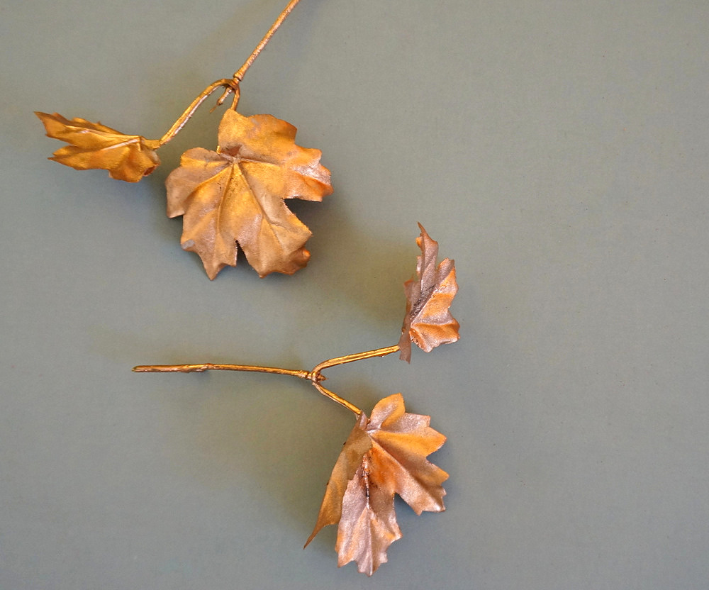 Faux copper leaves