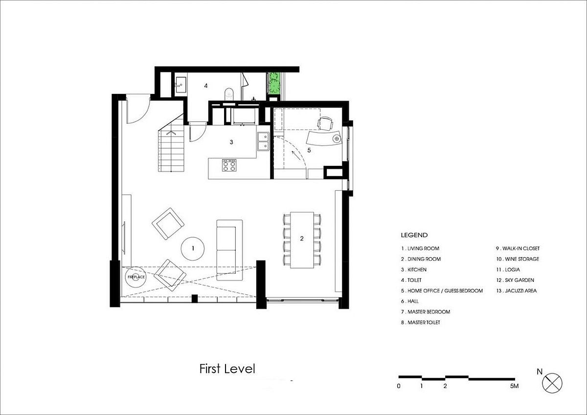 First level floor plan of revamped Penthouse Ecopark
