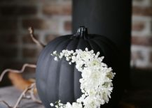 Floral touch for the dark, painted pumpkin
