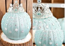 Frozen Elsa pumpkin for a Disney-inspired and sparkly Halloween