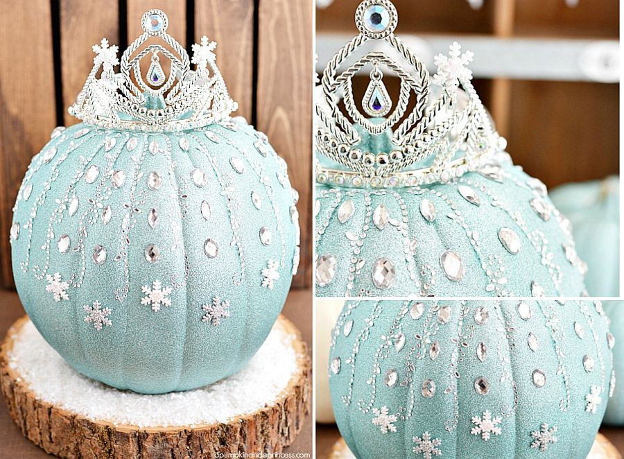Frozen Elsa pumpkin for a Disney-inspired and sparkly Halloween [From: A Pumpkin and A Princess]