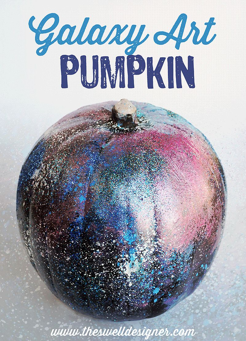 Galaxy art pumpkin DIY idea [From: The Swell Designer]