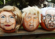 Get in election and Halloween mood with Hillary and Trump pumpkins!