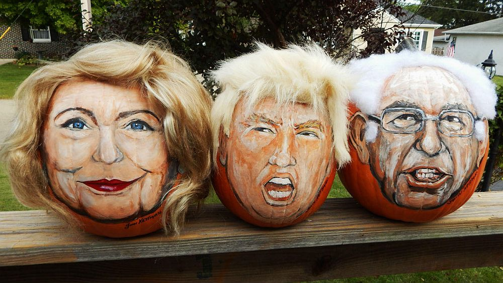 Get in election and Halloween mood with Hillary and Trump pumpkins! [From: latin life]
