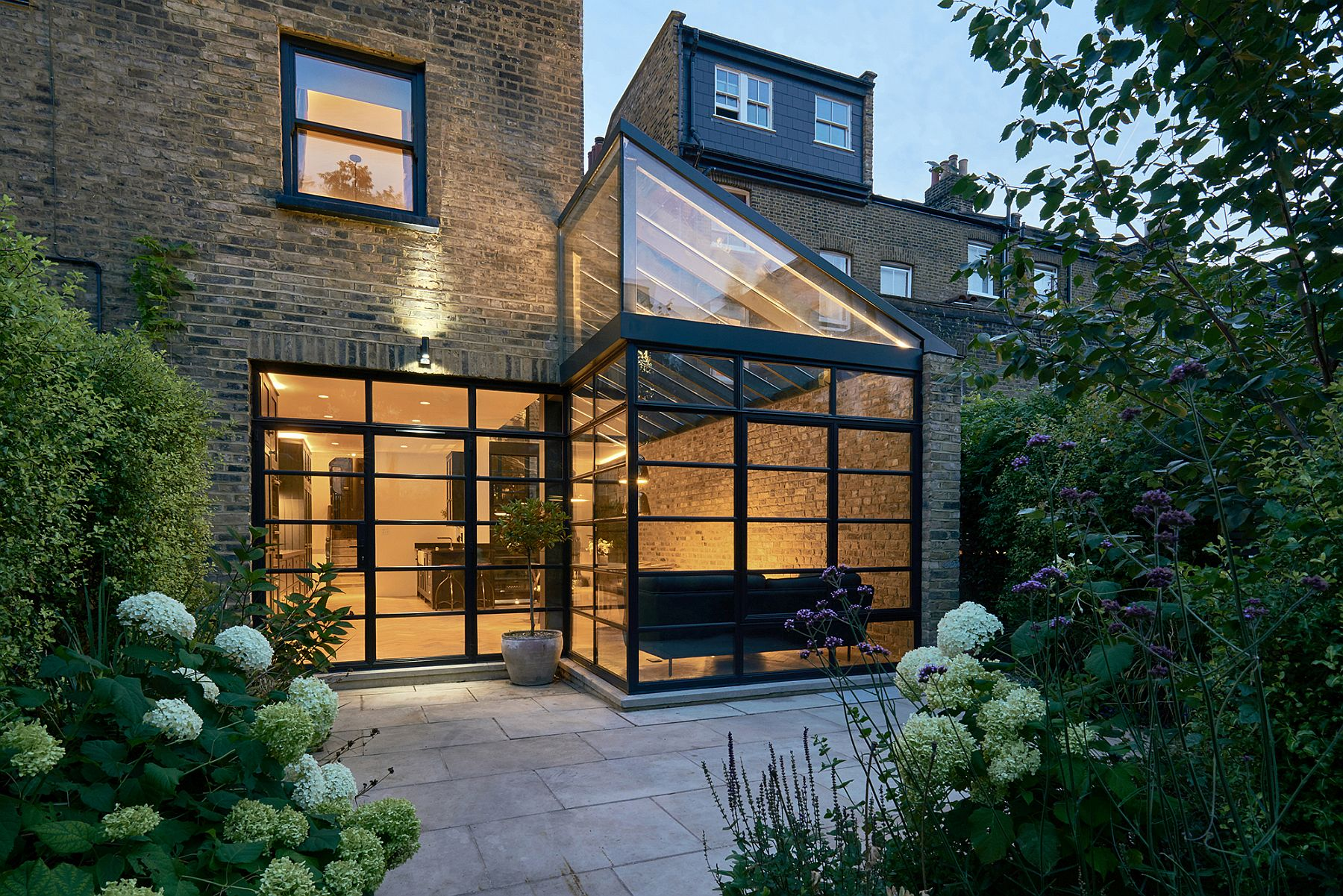 Glazed modern extension of classic victorian terrace house in Highbury