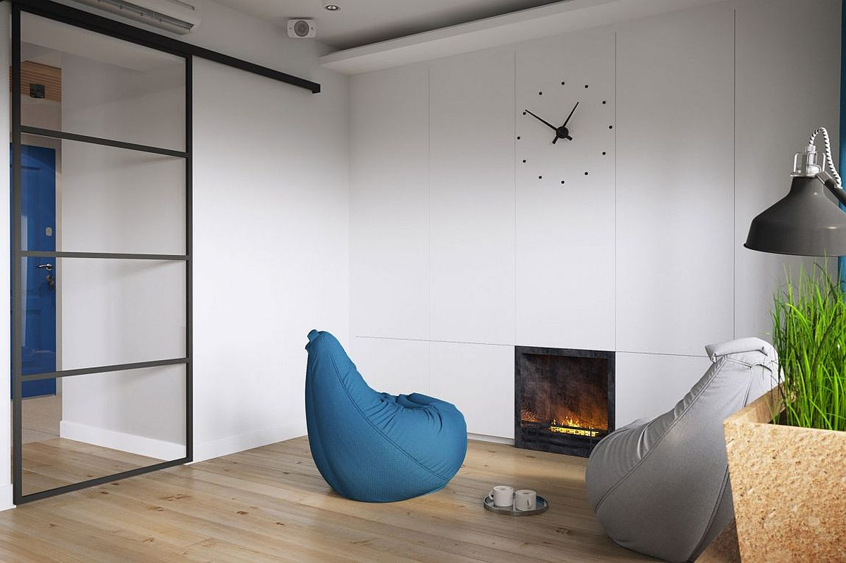 Gorgeous and space-savvy built-in Bio-fireplace in the living room