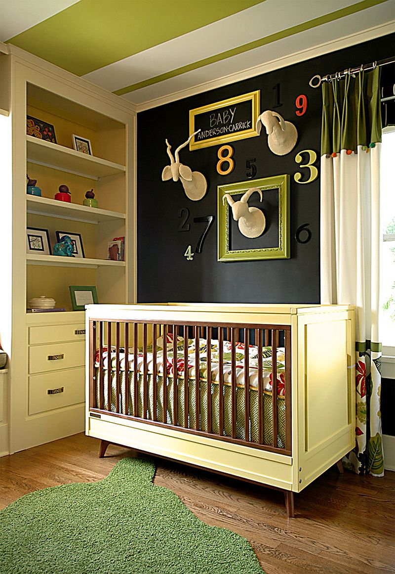 Green and black create a unique and polished modern nursery [Design: Benedict August]