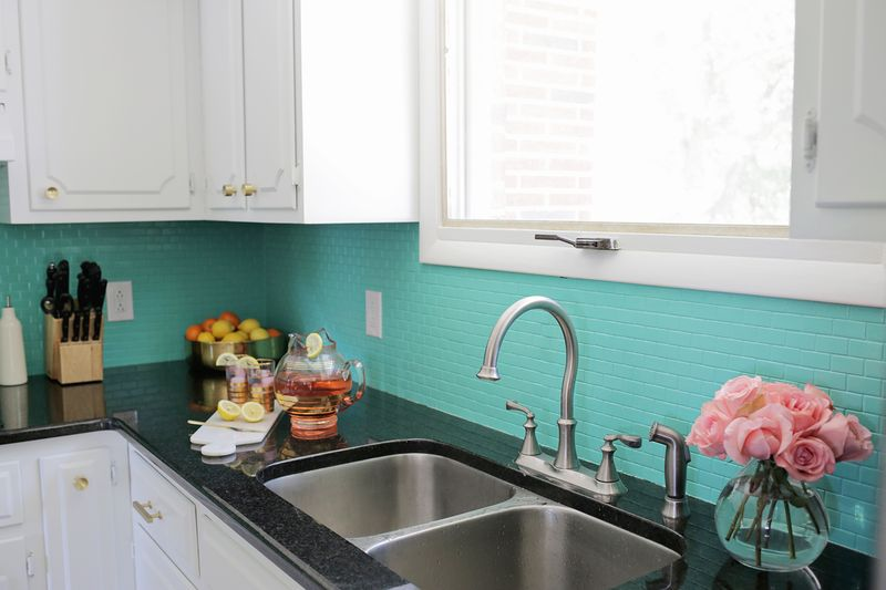 Green painted backsplash from A Beautiful Mess