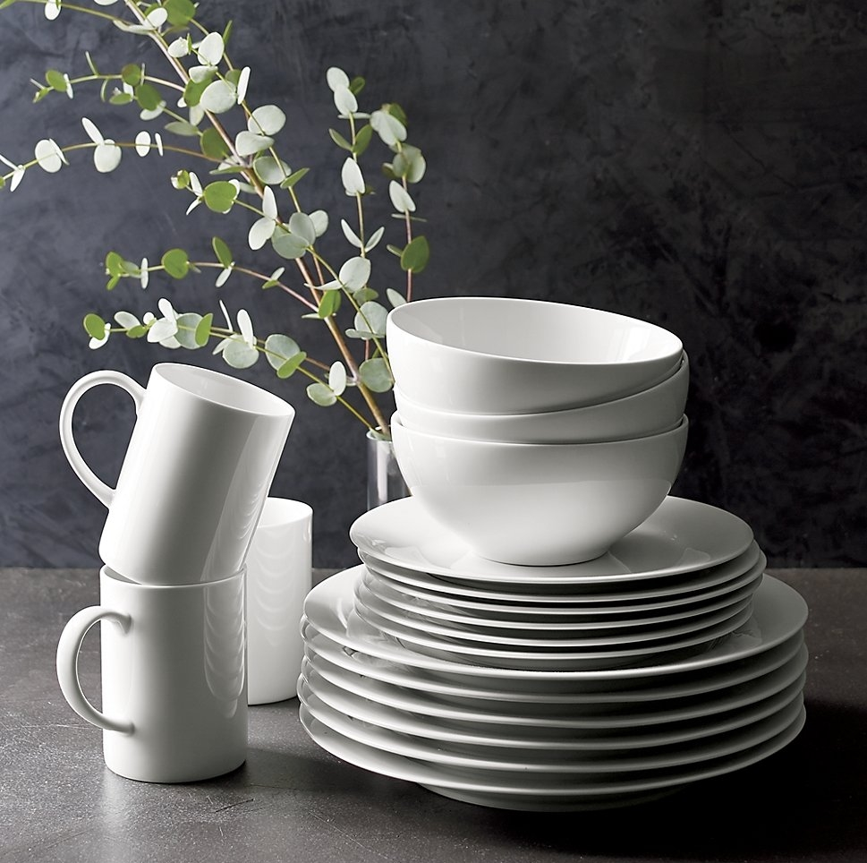 Grey is the backdrop to white dinnerware from Crate & Barrel