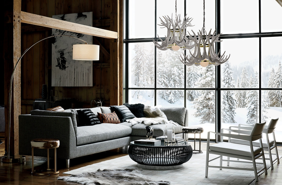 View In Gallery Grey Sofa And Wooden Walls In A Chalet Styled By CB2