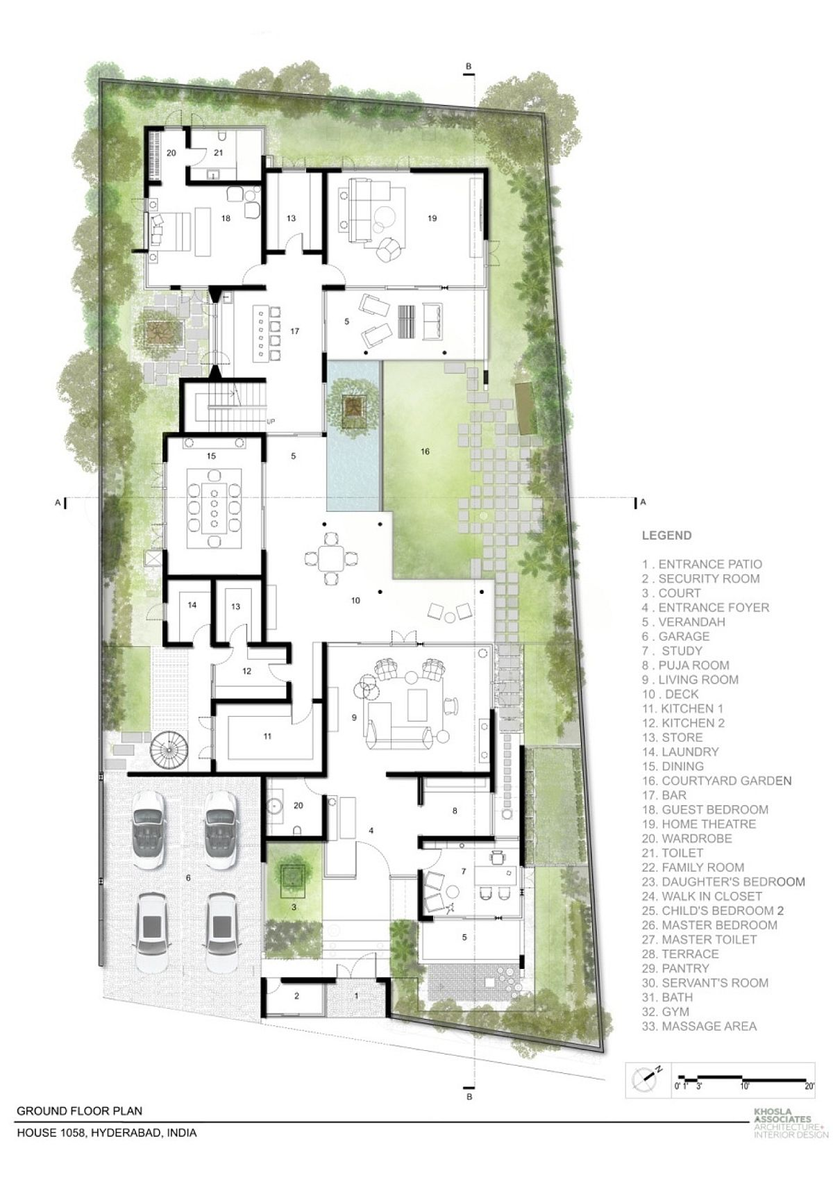 Ground level floor plan of contemporary residence in Hyderabad