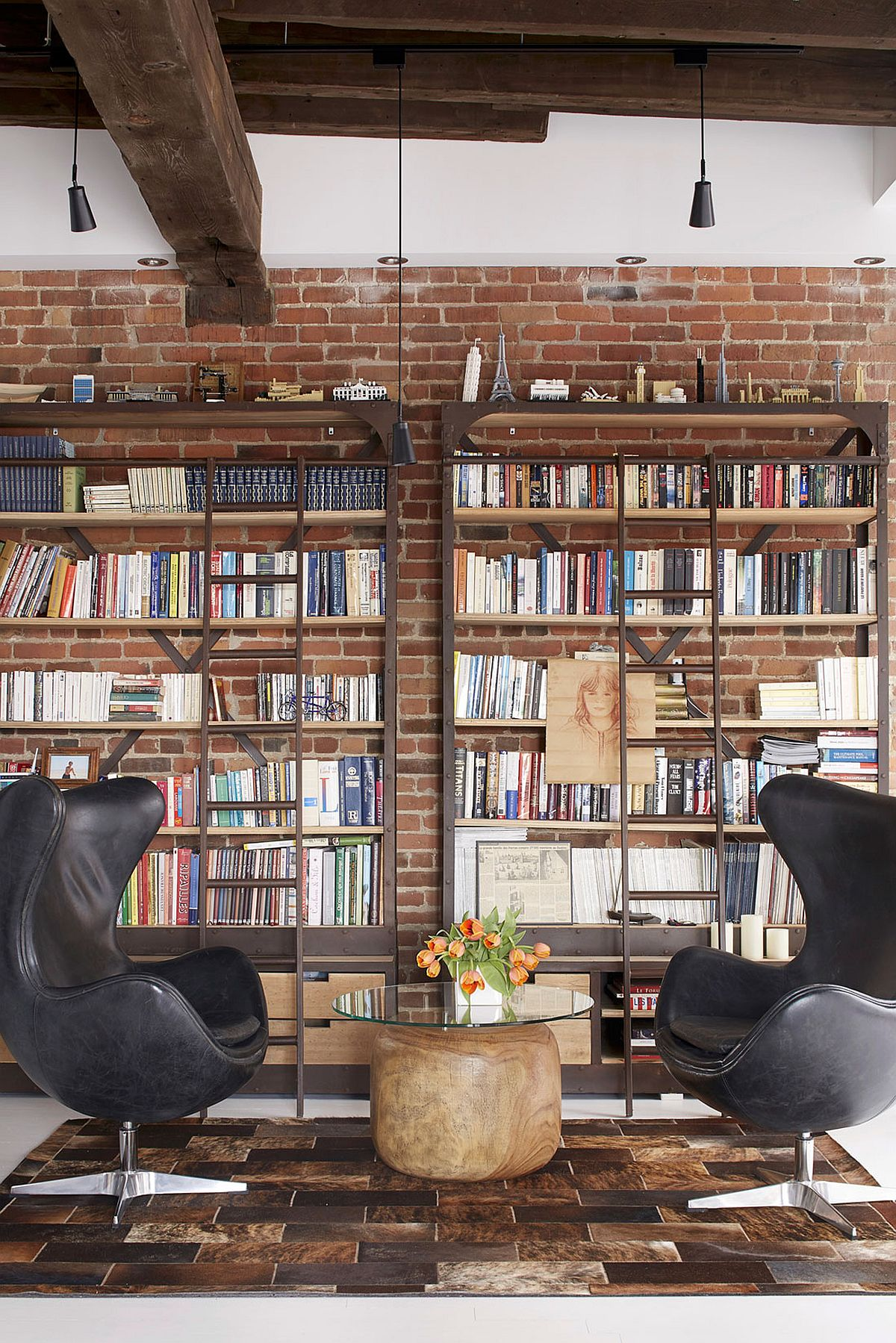 Contemporary Home Library Design: Old Fire Station Turned Into Dashing Modern Industrial