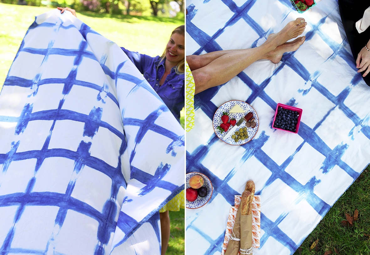 Indigo dyed blanket from Paper & Stitch