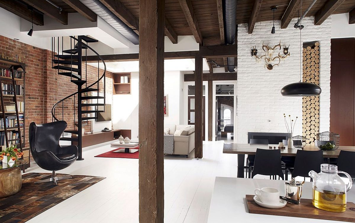 Industrial modern Loft Vieux-Montréal combines different textures with stylish aesthetics