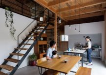 Interior of the newly built Japanese home inspired by renovated warehouse look