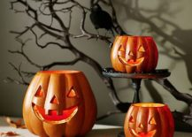 Jack-o-lantern luminaries from Pottery Barn can also be easily crafted at home