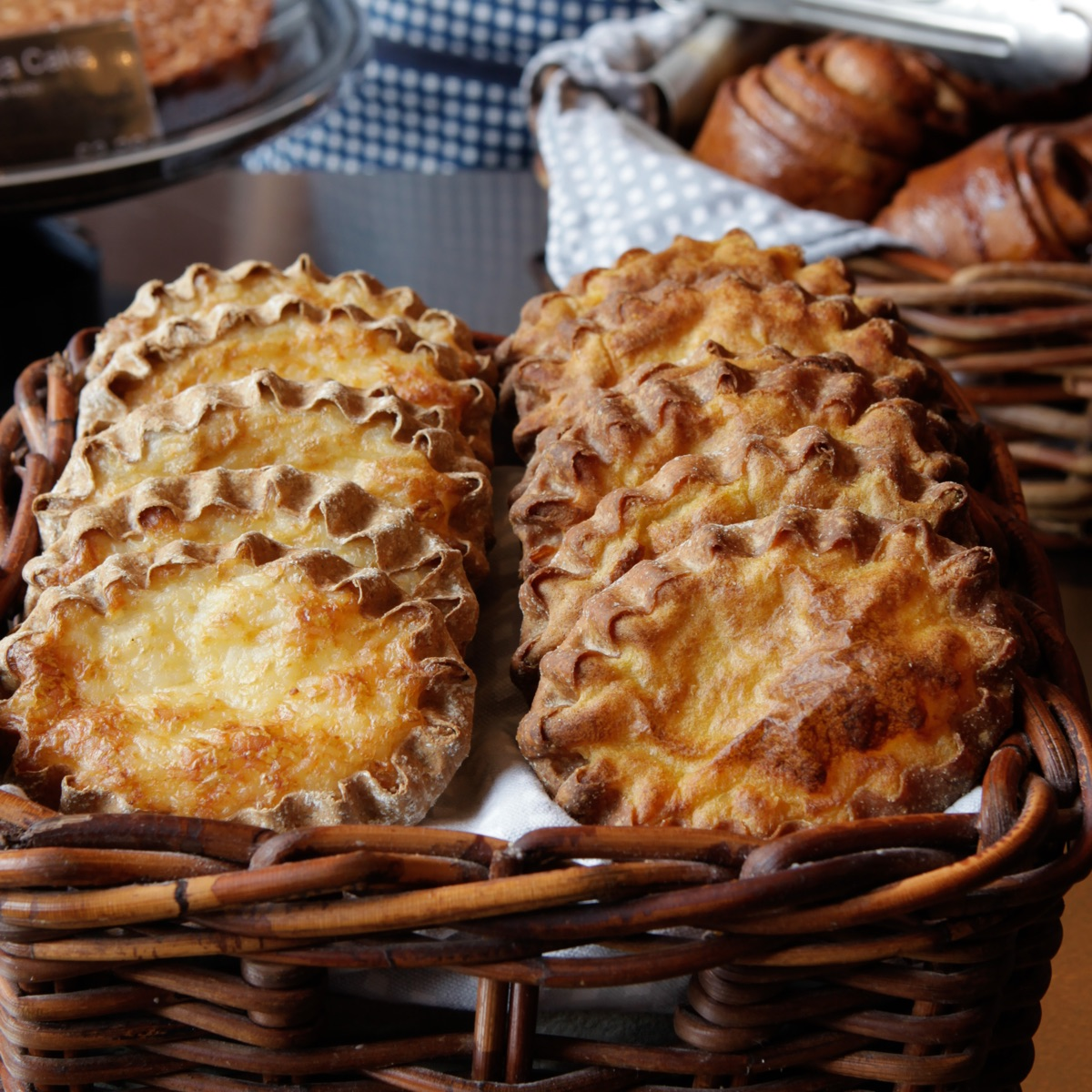 Karelian pies from Nordic Bakery in London. A delicious rye-crusted savoury snack, the Karelian pie is made with rice or potato mash filling and served with egg-butter spread. Image courtesy of Nordic Bakery.