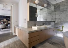 L-shaped bathroom vanity with relaxing ambiance