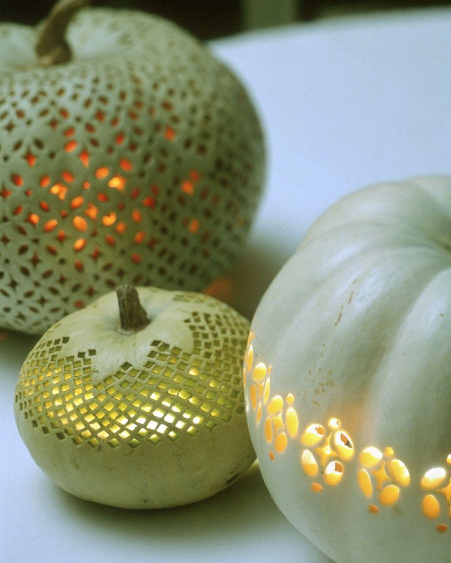 Lace-patterned pumpkins from Martha Stewart