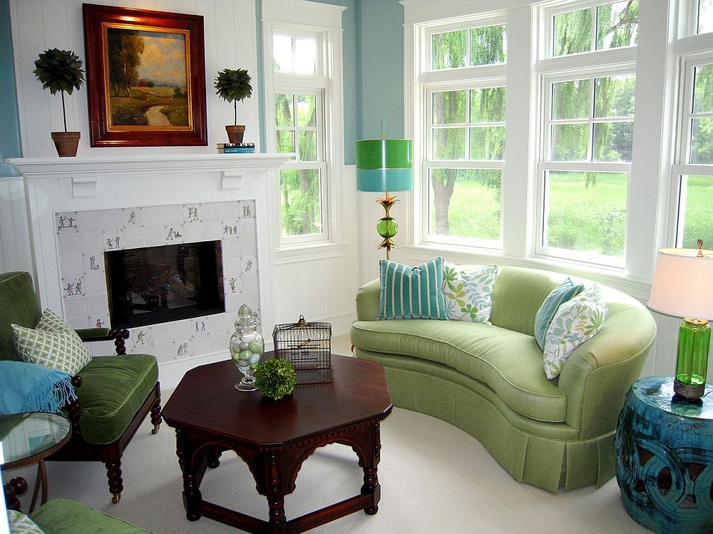 Light lime green is a cool color for the living room sofa! [Design: RLH Studio]