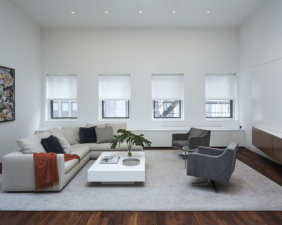 Living room of the renovated NoHo loft
