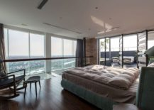 Master bedroom overlooking the city and the view beyond