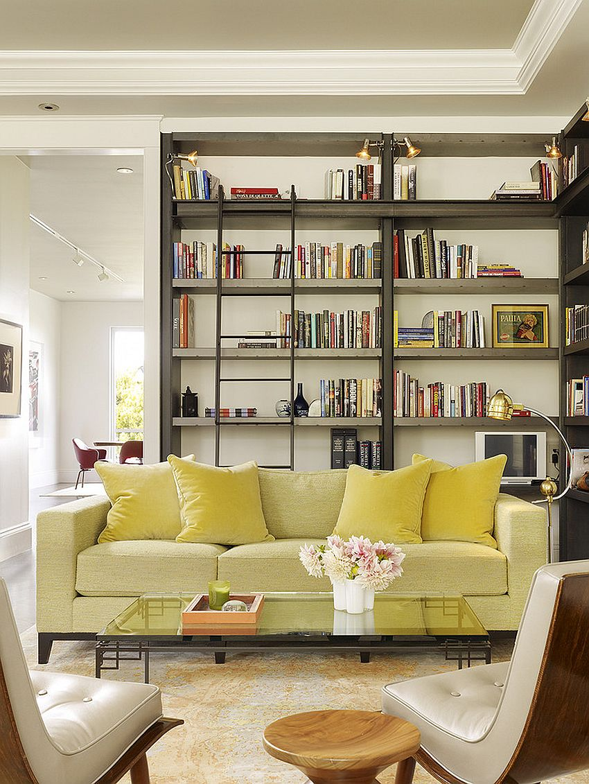 Mellow yellow sofa for the cool living room and library [Design: Chloe Warner]