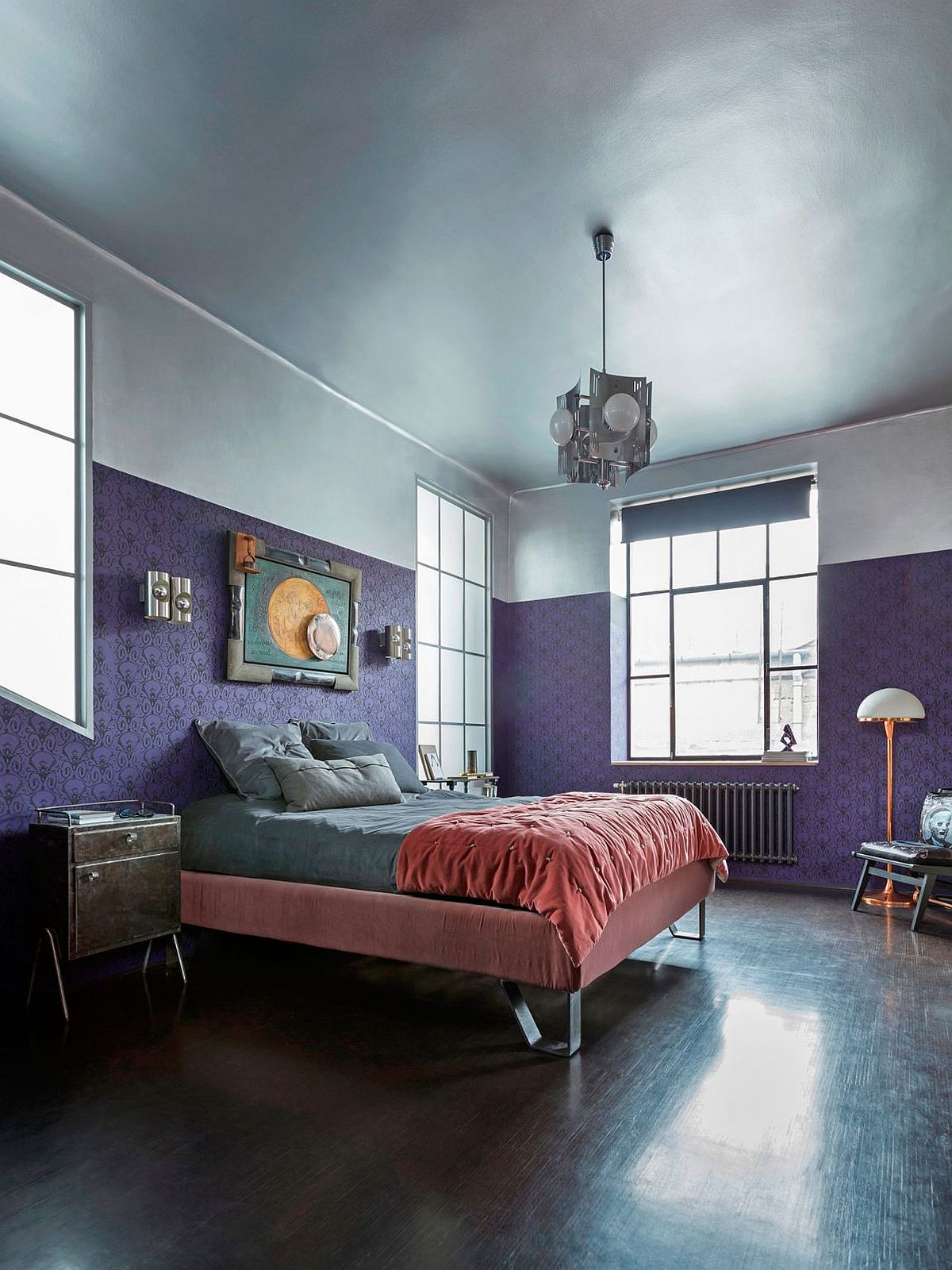 Mid century bedroom design with flair and color