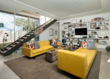 Midcentury living room with an yellow couch and lounger