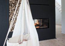 Minimal Scandinavian nursery design idea with fireplace