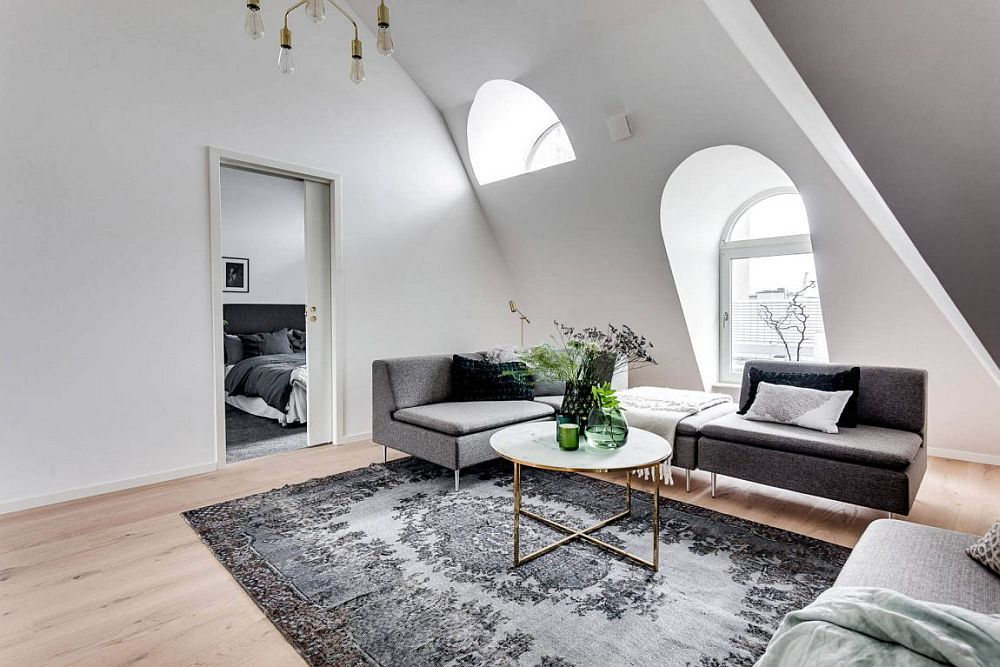 Modern Scandinavian apartment in white and gray