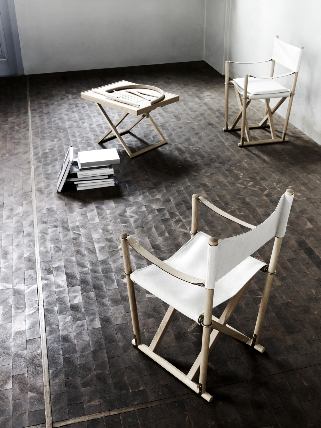 Mogens Koch's Folding Chair was designed in 1932. Seat and backrest in canvas. Image courtesy of Carl Hansen & Søn.