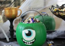Monsters University inspired pumpkin trick or treat bucket