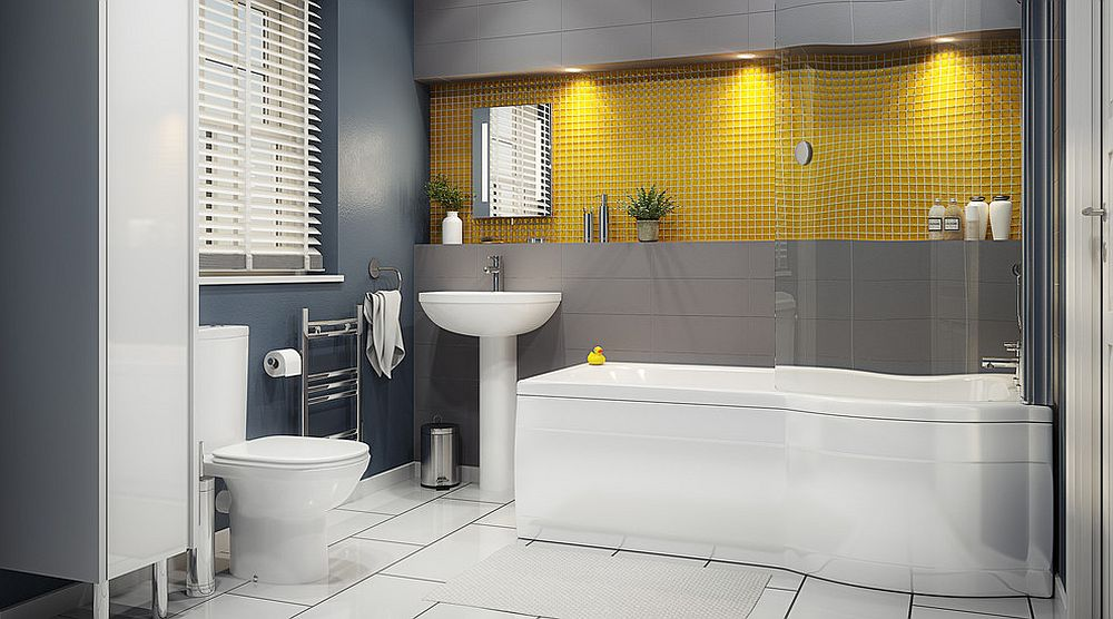 Mustard yellow couple with steely gray in the contemporary bathroom [Design: B&Q]