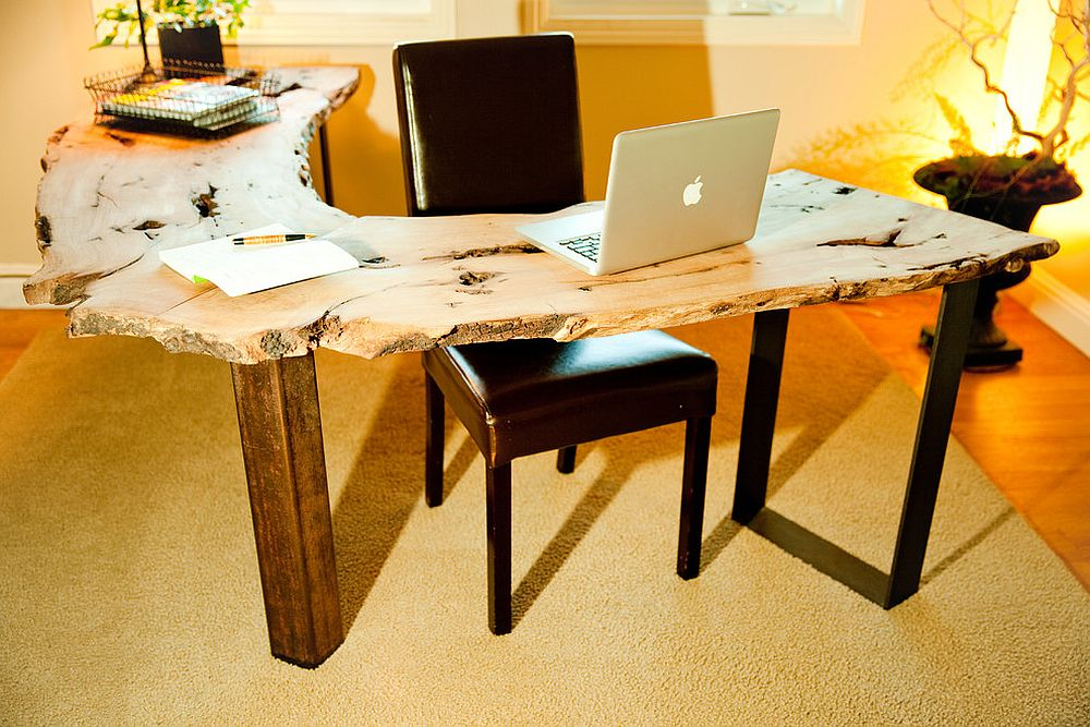 Natural edge work tables give you design freedom and usher in woodsy warmth [Design: California Wood Studios]
