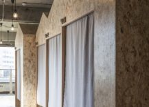 Nested huts with drapes offer private sleeping quarters