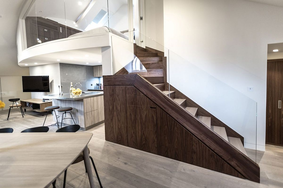 Open living area along with the new walnut oak staircase and mezzanine level master bedroom