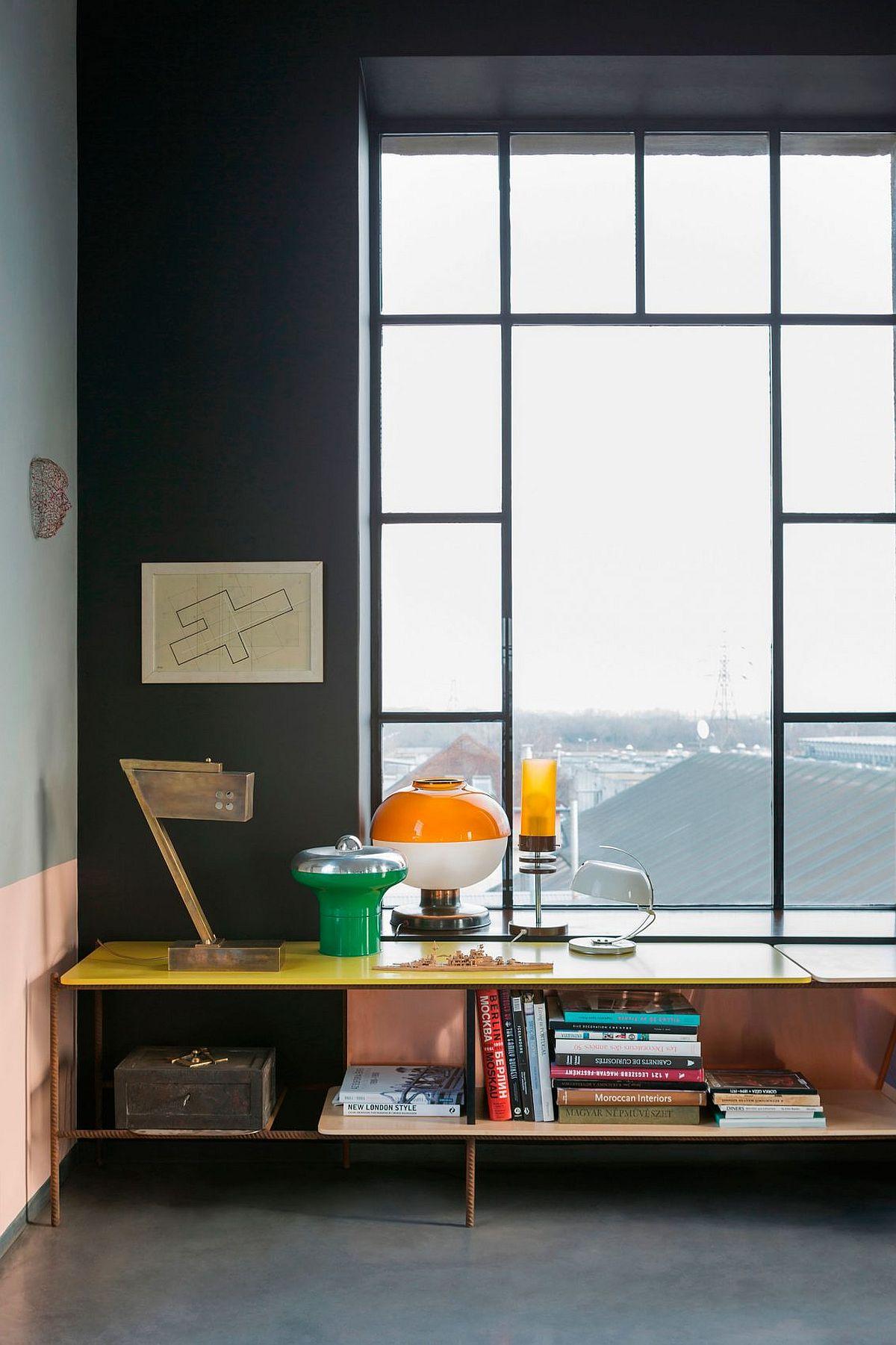 Original beams of the house turned into smart bookshelves