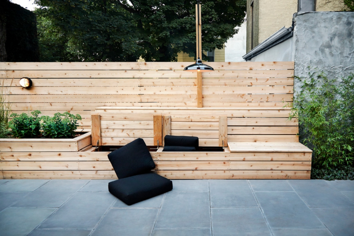 Outdoor storage bench from New Eco Landscapes